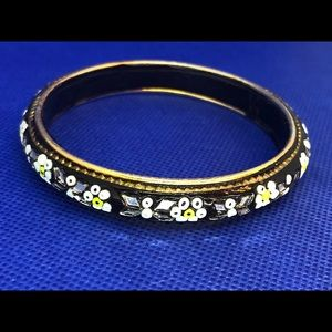 Vintage bangle bracelet - black, gold, light green